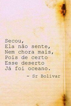 """""""Secou, ela não sente, nem chora mais, pois de certo esse deserto já foi oceano"""". Sr. Bolivar"""