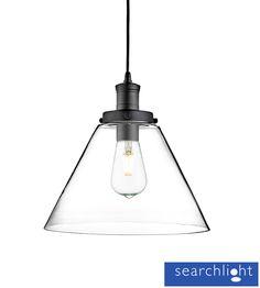 Searchlight 'Pyramid' 1 Light Ceiling Pendant Light, Matt Black With Clear Glass Shade - 3228BK None
