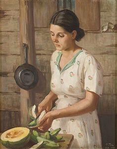 Julia en la cocina (Julia in the kitchen),1941 by Puerto Rican artist Miguel Pou.