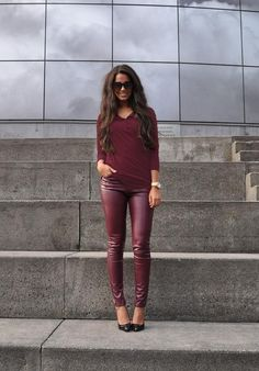 Die. deep burgandy outfit / leather pants