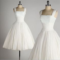 1950s Chiffon Beaded Wedding Dress