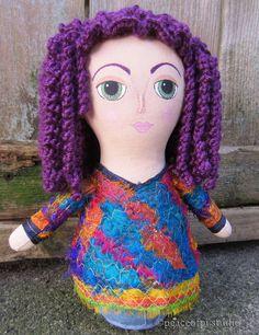 Purple Hair Hippie Cloth Doll | peaceofpi studio