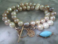 Perlenketten - Perlen Armband Sommer Kette Tahiti Gemme Achat - ein Designerstück von TOMKJustbe bei DaWanda