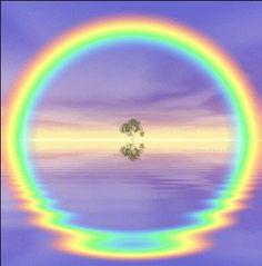 Reflection causes circular rainbow -