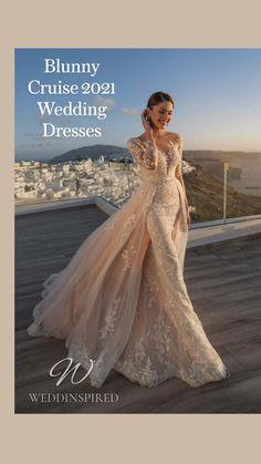 Unique Wedding Gowns, Disney Wedding Dresses, Wedding Gowns With Sleeves, Long Sleeve Wedding, Wedding Dress Styles, Bridal Gowns, Wedding Bride, Blush Wedding Dresses, Cheap Wedding Dresses Online