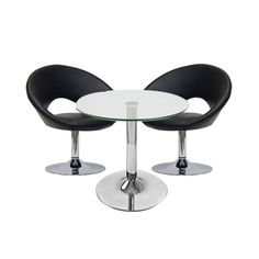 Crescendo Package Black  This package is sure to stand you apart and create a relaxed atmosphere. Perfect for informal meeting, exhibition stands and bar / drinks areas. The funky and contemporary white leather chair provides an additional retro twist on this modern setting, Also available in White.
