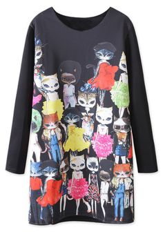 Black Long Sleeve Cats Cartoon Print Dress US$36.30