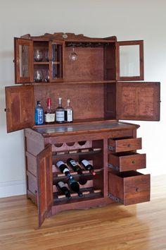 repurposed antique hoosier liquor cabinet