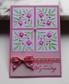 handmade greeting card: TLC489 Pink birthday flowers by niki1  ....  coloring embossing folder texture technique ... used markers for color  and a fancy corner embossing folder for the texture ... beautiful details ...