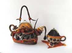 Galina Blazejewska Coffee set - felted teapot purse and felted cup purse - Out of Africa