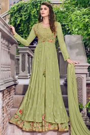 Buy Gorgeous Green Color Muslin Designer Gown With Jacket for Indian wedding gowns online in USA, UK, Canada, and Australia from VJV Fashions com by designer Designer Salwar Suits, Designer Anarkali, Designer Gowns, Designer Wear, Gown With Jacket, Silk Jacket, Jacket Style, Green Jacket, Salwar Kameez