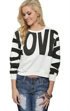 Deb Shops Long Sleeve French Terry Top with Love Screen $9.03