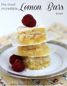 These Lemon Bars are INCREDIBLE! Butter with a Side of Bread #recipe