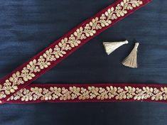 Maroon Velvet Sequins Indian Trim, Gold Sequins Zari Embroidered Velvet Lace, Handmade Indian Bridal Lace, Sari Border W Price per Mtr Zardozi Embroidery, Embroidery Dress, Hand Embroidery, Plain Saree, Saree Border, Flowering Vines, Gold Sequins, Indian Designer Wear, Bridal Lace