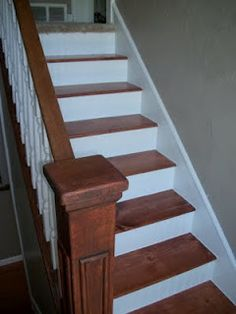 Refinished Staircase; Here Is How I Imagine Our Stairs If We Go With Wood  Floors