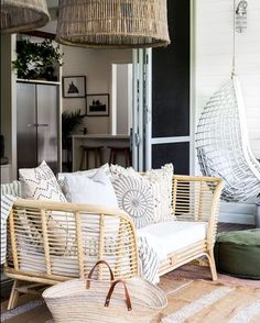 looks fabulous in any in-door or outdoor living area. Can be used as a spare bed or a accent chair in yours or your child's bedroom. Indoor Outdoor Living, Outdoor Living Areas, Cane Sofa, Modern Balcony, Spare Bed, Balcony Furniture, 2 Seater Sofa, Living Room Sofa, Hanging Chair