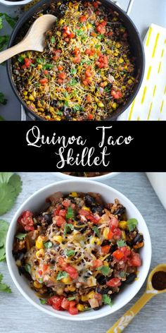 vegetarian recipes This quinoa enchilada skillet is loaded with veggies and tons of spices. Its a light and healthy one pan dish, perfect for an easy weeknight meal! Its vegetarian and gluten free, and the leftovers reheat well for lunches! Vegetarian Recipes Dinner, Vegan Dinners, Veggie Recipes, Mexican Food Recipes, Whole Food Recipes, Cooking Recipes, Healthy Recipes, Vegetarian Dishes Healthy, Red Quinoa Recipes