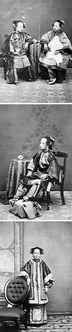 1864.  Notice the tiny feet on these women.  Most Chinese girls starting at age 4 to 7 had them bound to mimic the tiny feet of high class court dancers from the late Tang dynasty. Men considered them highly attractive and a mark of beauty.