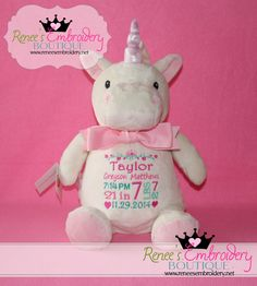 Personalized Baby Gift New Baby Birth Announcement Monogrammed Stuffed Animal  Toy & Keepsake by ReneesEmbroidery on Etsy