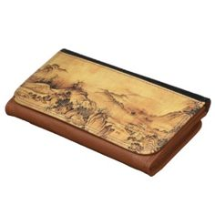 Vintage Chinese Sumi-e painting landscape scenery Large Faux Leather Wallet