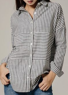 Striped Button Up Turndown Collar Asymmetric Hem Shirt on sale only US$31.11 now, buy cheap Striped Button Up Turndown Collar Asymmetric Hem Shirt at liligal.com