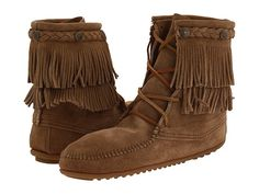 Minnetonka Double Fringe Front Lace Boot Taupe Suede - Zappos.com Free Shipping BOTH Ways