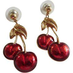 AVON Enamelled Double Red Cherry Drop Pierced Earrings
