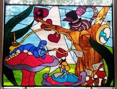 Hey, I found this really awesome Etsy listing at https://www.etsy.com/listing/157080708/alice-in-wonderland-stained-glass-window