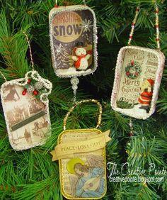 DIY:  Mini-Shadow Boxes as Christmas Ornaments