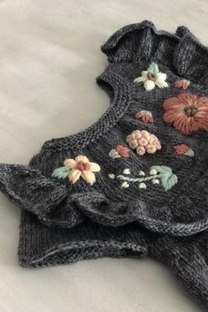 Details on our Flora handknitted dress for babies and children – aren't you in l… Knitting For Kids, Baby Knitting Patterns, Hand Knitting, Embroidery On Clothes, Hand Embroidery, Crochet Baby, Knit Crochet, Knitted Baby, Flora Dress