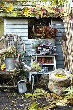 a new idea for my twig garden furniture for a corner on my porche ...