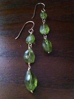 Triple peridot earring Peridot Earrings, Drop Earrings, Jewelry, Jewlery, Jewerly, Schmuck, Drop Earring, Jewels, Jewelery