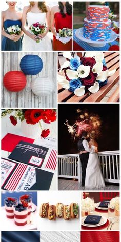Patriotic 4th of July Wedding, inspiration board by The Simplifiers - www.thesimplifiers.com - tons of red, white and blue ideas!!