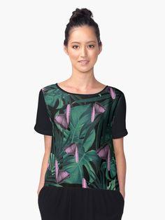 """Tropical Butterfly Jungle Night Leaves Pattern #1 #tropical #decor #art"" Women's Chiffon Top by anitabellajantz | Redbubble"
