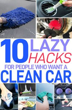These 10 lazy car cleaning hacks are THE BEST! I'm so glad I found these GREAT great cleaning and organization tips! Now I have great ways to keep my car clean and tidy!
