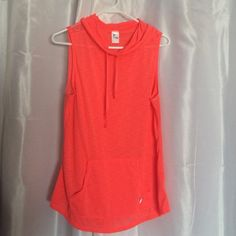 Very nice sleeveless sports top Fluorescent orange sports top. Worn once I. Excellent condition. No stains no holes. It's hooded with mesh see thru back. Old Navy Tops