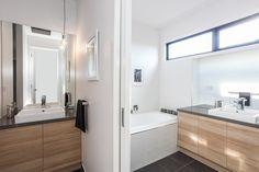 Contemporary woodgrain bathroom vanity in polytec Natural Oak Ravine.