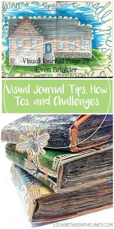 A visual journal page about decorating the exterior of my house with Christmas lights. Visual journal tips, how tos, and challenges are included plus specifics on colored pencils. #alteredbooks #visualjournal #mixedmedia #art