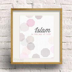 Instant Download! Islam is the way of life. Geometric Bokeh Design. Digital Download DIY