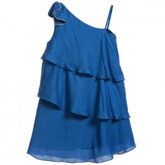 Blue Viscose Tiered Dress with Gold Piping