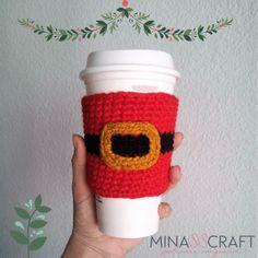 Santa Claus manga para termo patrón gratis #coffee  #crochet #christmas
