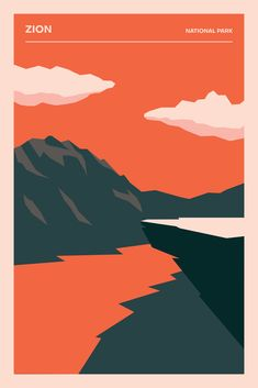 Poster Discover Your place to buy and sell all things handmade Zion National Park Poster Minimalist Print Printed National Park Posters, Zion National Park, National Parks, Graphic Design Posters, Graphic Design Inspiration, Graphic Art, Free Illustration, Illustrations, Cool Posters