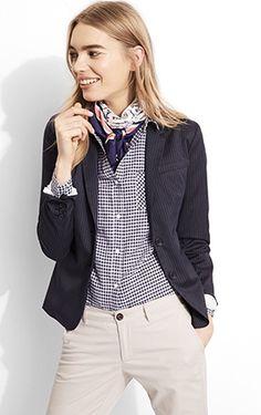stone colored khaki pants + navy gingham button up + navy blazer + silk scarf