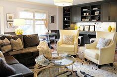 Ej Interiors Living Rooms Navy Walls Gold Accessory