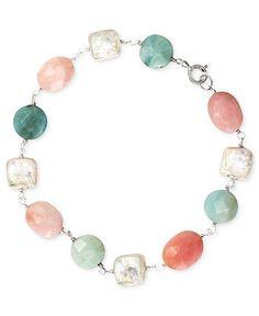 Sterling Silver Bracelet, Cultured Freshwater Pearl (9mm), Pink Opal (11-3/4 ct. t.w.) and Amazonite (11-3/4 ct. t.w.) Bracelet - Bracelets ...