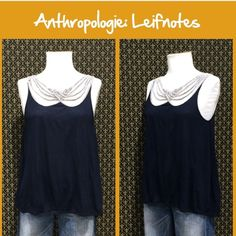 "Anthro ""Scalloped Strings Tank"" by Leifnotes Navy blue colorway.  Relaxed fit.  Very good preloved condition.   **  Prices are as listed- Nonnegotiable.  I'm happy to bundle to save shipping costs, but there are no additional discounts.  No trades, paypal or condescending terms of endearment  ** Anthropologie Tops Tank Tops"