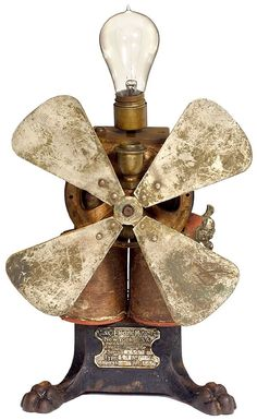 "Early American Electric Fan ""Curtis & Crocker"", 18 - May 2006 Antique Fans, Vintage Fans, Old Fan, Vintage Appliances, Desk Fan, Electric Fan, Fan Blades, Early American, Vintage Beauty"
