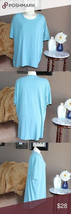 LulaRoe   Solid Teal Irma Tee, size M LulaRoe, solid Irma in sky blue/teal - size medium. See picture 4, material is heathered. In excellent used condition with slight signs of wash and wear. LuLaRoe Tops