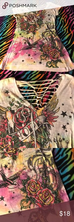 Wet Seal cut-out hope shirt Beautiful designs of birds and roses 🌹 with rhinestones all intact and cut and knotted with peek-a-boo back Wet Seal Tops Blouses