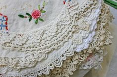 These are styles of doilies I grew up with. They were starched by hand with Argo Starch, hung to dry, sprinkled with water, rolled for a couple hours and then ironed.